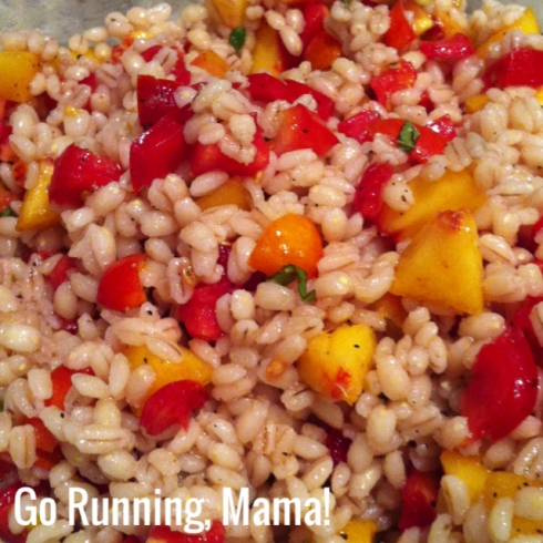 Go Running, Mama!- Get to Know Your Grains: Pearl Barley Salad with Tomatoes and Peaches