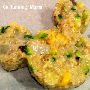 Go Running, Mama!- Zucchini Quinoa Lunchbox Patties; easy, healthy, make ahead meals in fun character shapes