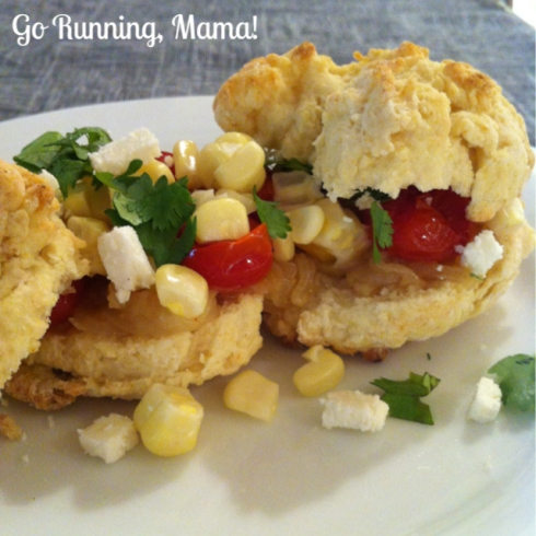 Go Running, Mama!- Roasted Tomato and Corn Shortcakes with Caramelized Onions, Cilantro, and Cojita Cheese