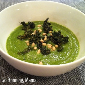 Go Running, Mama!: Kale Cauliflower Soup with Pine Nuts