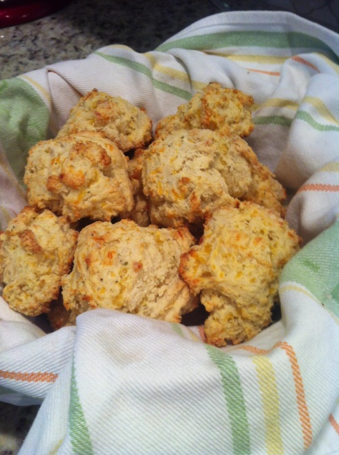 Go Running, Mama: Cheddar Garlic Drop Biscuits