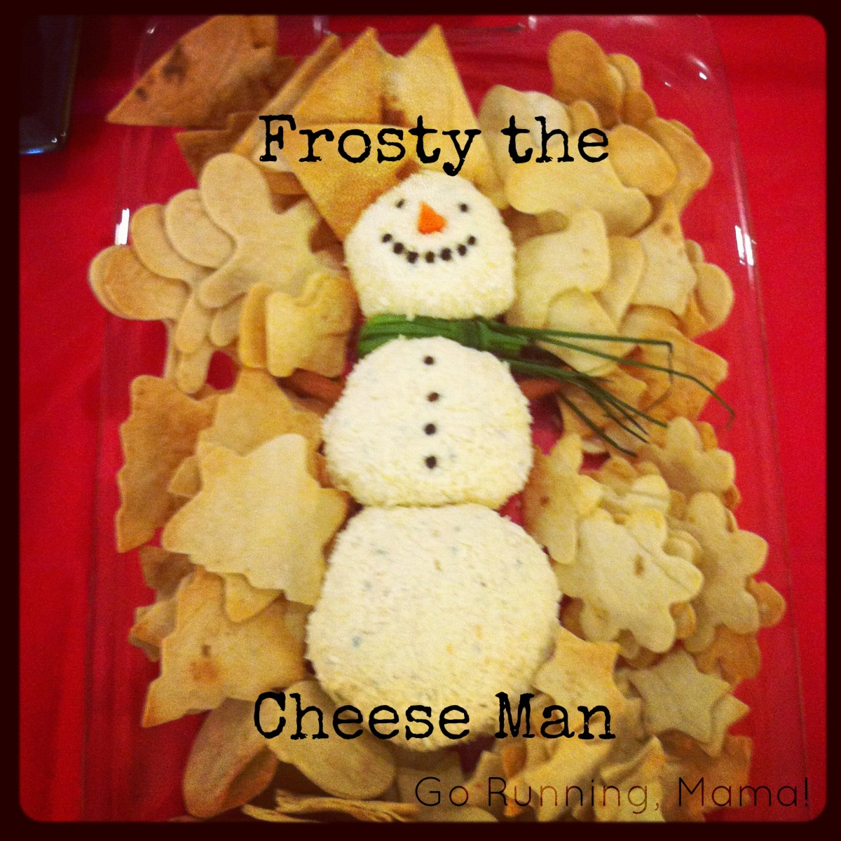 Frosty the Cheese Man: Snowman Cheese Ball with Hand Cut Holiday Tortilla Chips