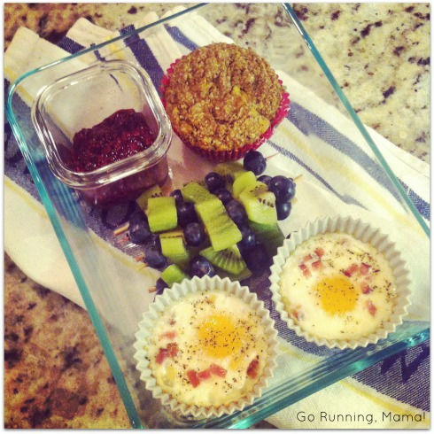 Breakfast on the Run: Bake Egg Cups, fruit skewers, Mango Macadamia Recovery Muffins, and Raspberry Refrigerator Jam from Go Running, Mama!