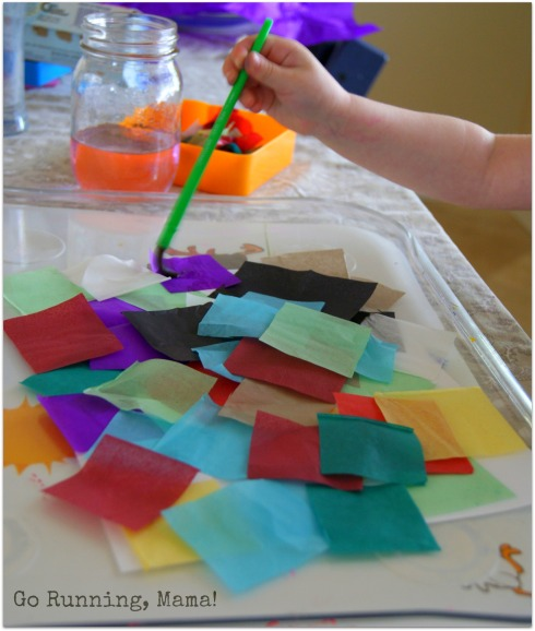 Heart Watercolor Mosaic Paintings- Paint free tissue paper paintings for inspired little minds at Go Running, Mama!
