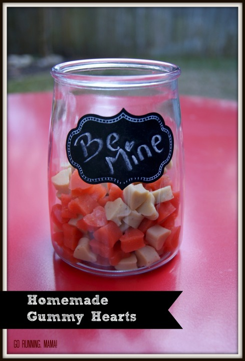 Homemade Gummy Hearts- sugar free and packed with fresh fruit from Go Running, Mama!
