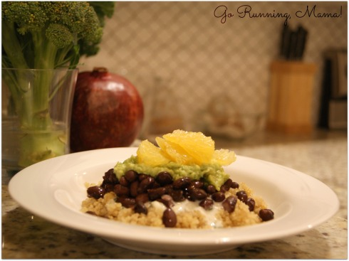 Quinoa Bowl with Black Beans, Grapefruit, Avocado and Kefir- Go Running, Mama!