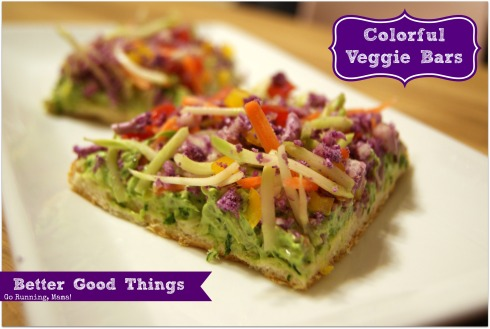 #BetterGoodThings- Colorful Veggie Bars made with kale, purple cauliflower, broccoli, bell pepper, and tomatoes at gorunningmama.com
