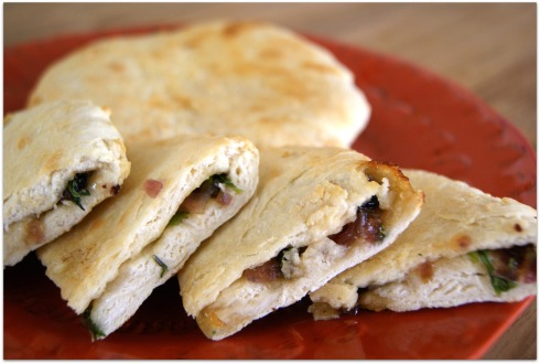#FirstontheFirst- Naan stuffed with candied red onions, currants, garlic, and cilantro