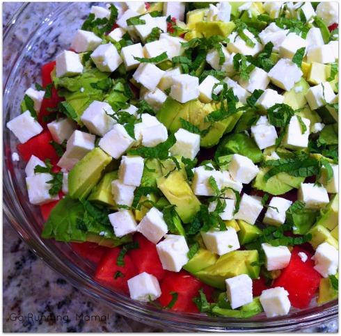 Watermelon Salad with Avocado, Feta, Mint and Pomegranate Dressing